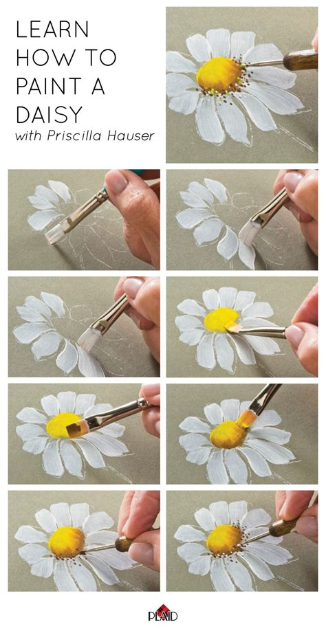 learn to paint in learn how to paint a daisy with priscilla hauser super easy step by steps plaidcrafts diy