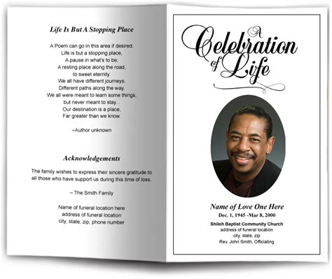 classic funeral program template memorial service