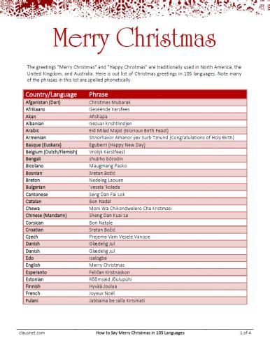 merry christmas   languages lists clausnet