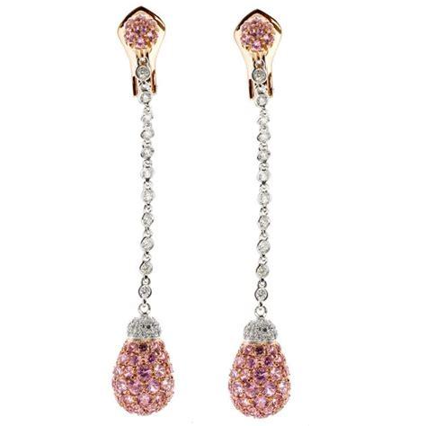 pavè di brillanti orecchini lunghi in oro bianco e rosa diamanti e pav 195 169 di