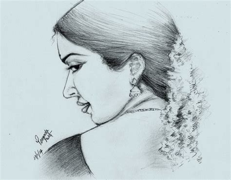 sketches  drawings pencil sketch south indian beauty