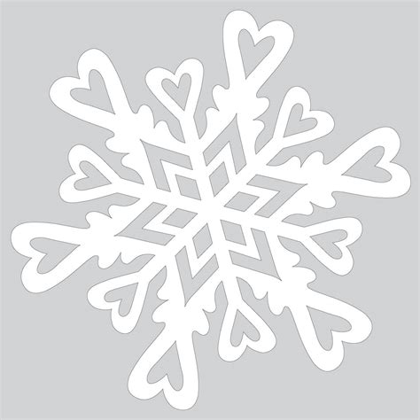 Cut Out Paper Crafts - paper snowflake pattern with hearts to cut out free