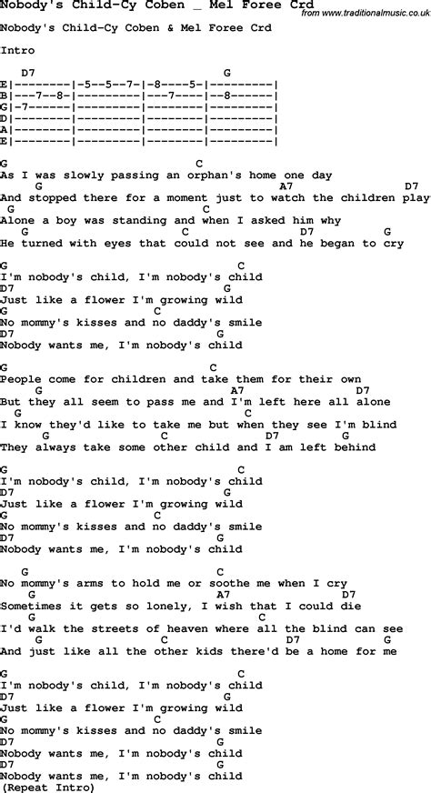 skiffle lyrics for nobody s child cy coben mel foree with