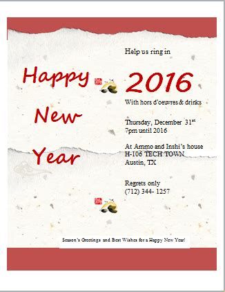 New Year Invitation Card Template Free by New Year Invitation Card Template Word Excel