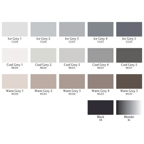 grey color code color chart of letraset single grey promarkers colour