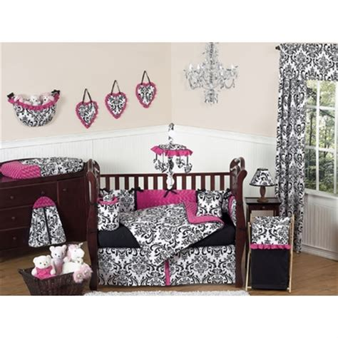 pink black and white crib bedding collection