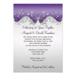 purple silver butterflies 25th anniversary 5 quot x 7 quot invitation card zazzle