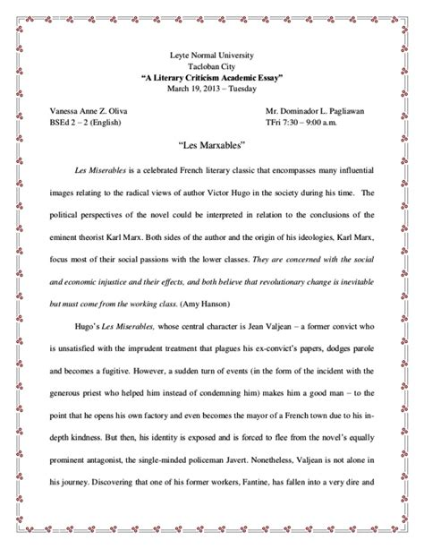 Marxist Criticism Essay les miserables critical analysis literary criticism marxism