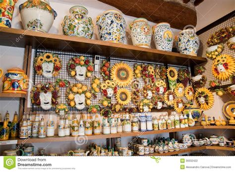 Handcrafted Shop - shop of handmade pottery italy stock photo image of