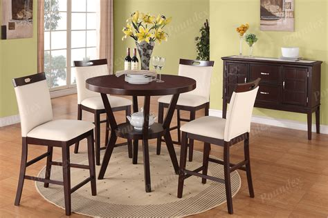 Modern 5Pc Dining Set Counter Height Dining Table Chair High Chairs Dining Room