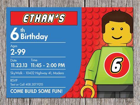 lego birthday card template free printable lego birthday invitations ideas