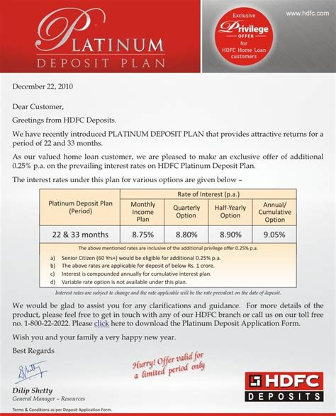 Offer Letter Hdfc Bank Simple Financial Sense Hdfc Platinum Deposits