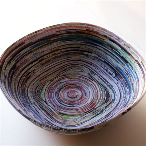 Recycled Magazine Paper Crafts - how to recycle magazines into bowl