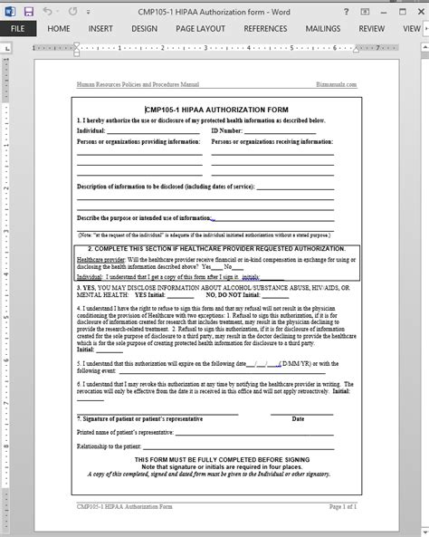 Hipaa Authorization Template Hipaa Compliant Release Of Information Template
