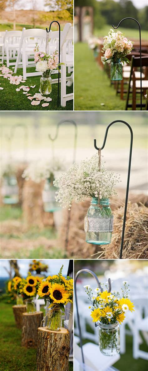 Wedding Aisle Flower Decorations by Rustic Wedding Ideas 30 Ways To Use Jars