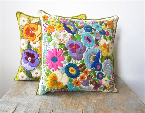Pillow With Embroider S sale vintage crewel embroidery pillow bright floral