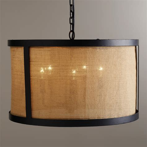 Burlap Pendant Light Burlap Drum Chandelier World Market