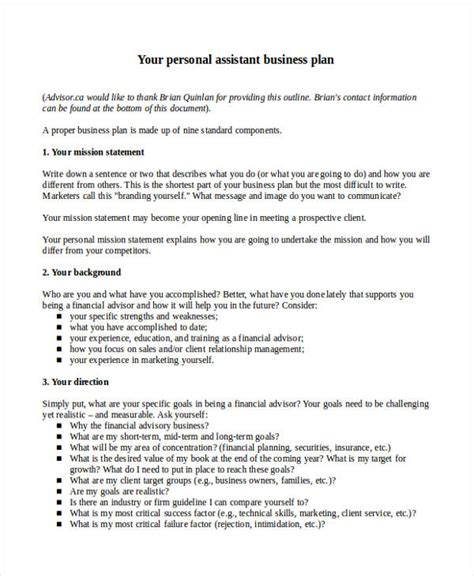 assistant business plan template 69 personal plan exles sles