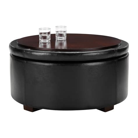 round leather ottoman with storage black leather round storage ottoman 187 home decorations insight