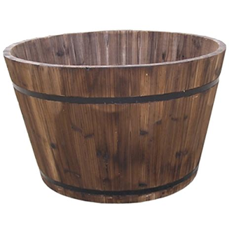 How To Make A Barrel Planter by Wooden Barrel Planter 24 In