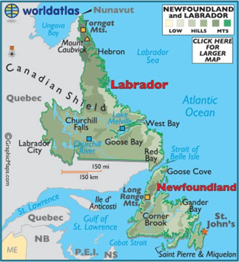 newfoundland canada map province of newfoundland canada map