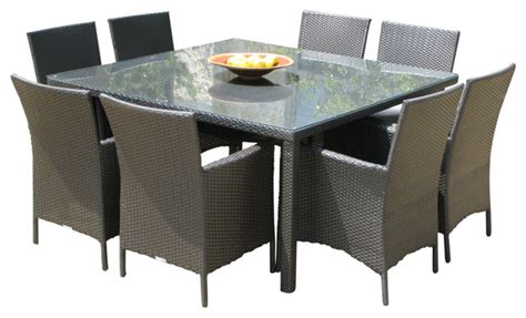 Square Patio Table For 8 Outdoor Wicker New Resin 9 Square Dining Table And Chairs Set Contemporary Outdoor