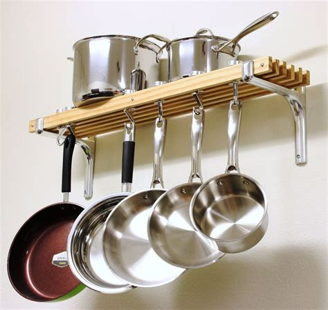 Hanging Pan Racks by Hanging Wooden Pot Rack Holder Wall Mount Hooks Pans Pots