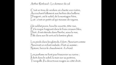 Le Dormeur Du Val Rimbaud Texte by Rimbaud Le Dormeur Du Val C Est Un Trou De Verdure
