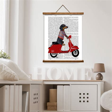 dachshund home decor dachshund print dachshund queen by dachshund print dachshund on moped by fabfunky home decor