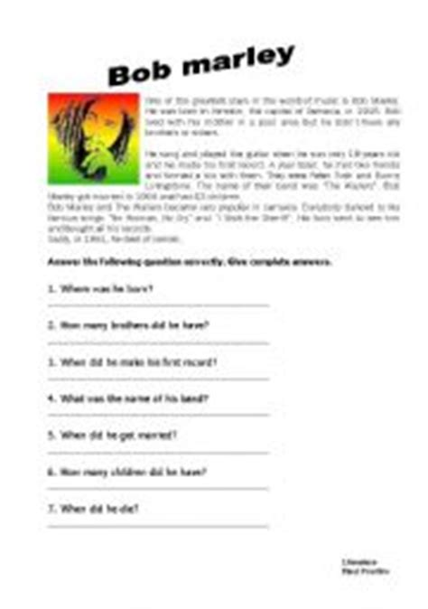 bob marley short biography in english english teaching worksheets bob marley