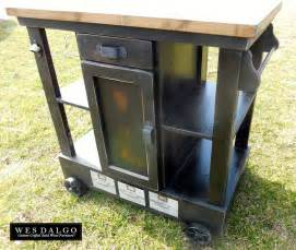 modern industrial tall kitchen island cart with centered