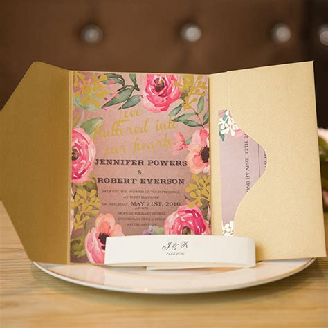 Unique Floral Wedding Invitations by Affordable Pocket Wedding Invitations Invites At