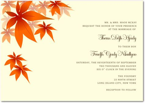 fall card template fall wedding invitations ideas fall wedding invitations