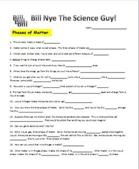 Bill Nye Heat Worksheet Answers by 17 Best Images About Physics On Equation Note