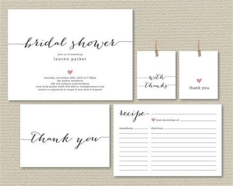 recipe book bridal shower ideas 2 printable bridal shower invitation recipe card thank you