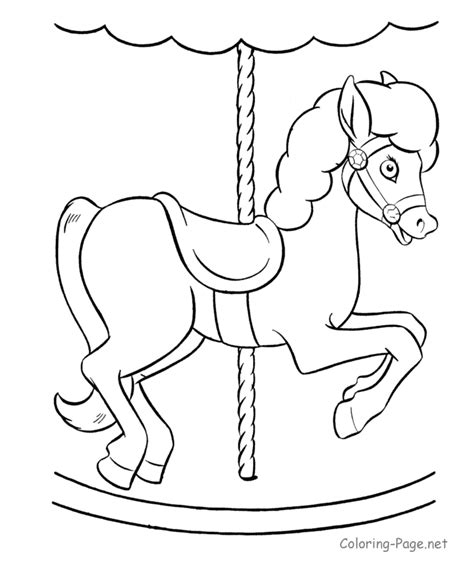 horse coloring pages merry go round