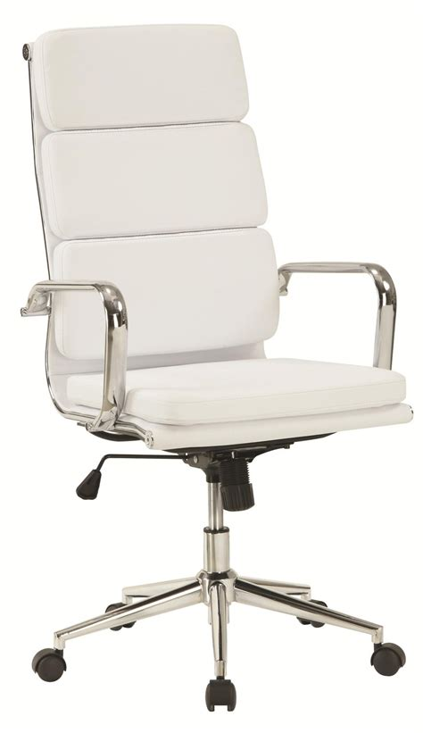 White Office Desk Chair Coaster 800837 White Leather Office Chair A Sofa Furniture Outlet Los Angeles Ca