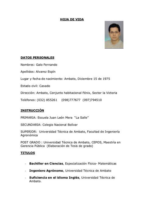 Modelo Curriculum Vitae Guatemala Curriculum Galo Alvarez