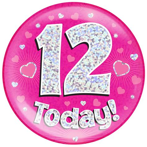 Where To Buy Short Curtains by 12th Birthday Pink Holographic Jumbo Badge Pageant Party