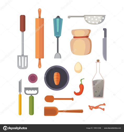 vector set kitchen utensils cooking tools flat style cook equipment isolated objects stock