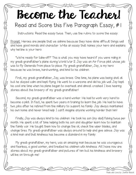 Teachers Essay Exles by Tips For Teaching Grading Five Paragraph Essays The Tpt