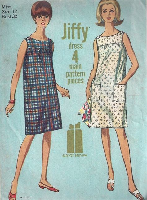 pattern shift dress vogue 1960s shift dress pattern sleeveless simple size 12 bust