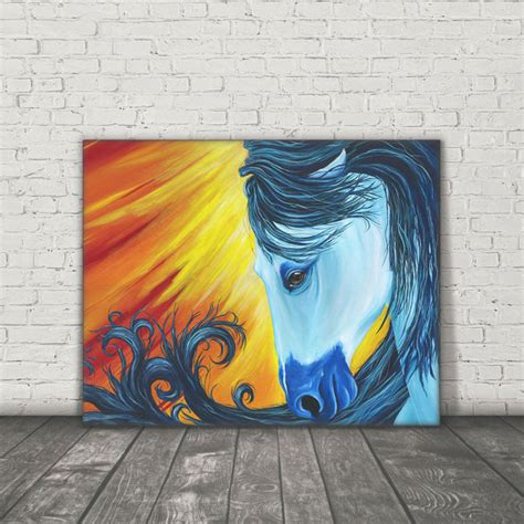 fashion animal framed painting with acrylic glass ready to hang wall art prints with wooden original canvas horse painting acrylic painting horse art