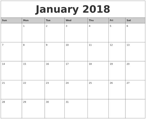 printable january 2018 calendar january 2018 monthly calendar printable