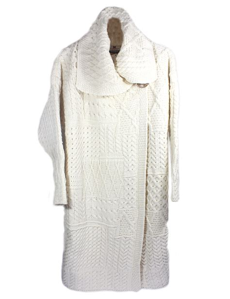 aran cardigan sweater patchwork knit merino wool