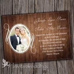 rustic vintage wedding invitations vintage rustic wood background photo wedding invitations