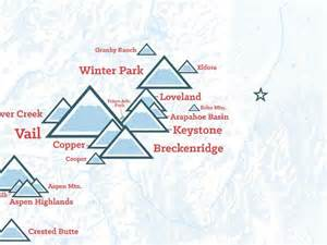 colorado ski resorts map poster