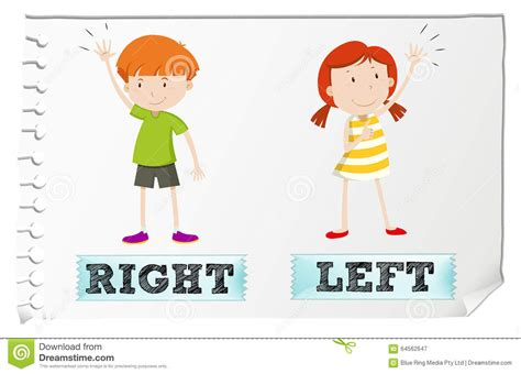 st on left or right opposite adjectives with left and right stock vector