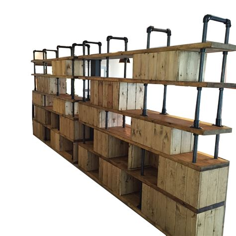 vintage industrial style dividing wall shelving unit by