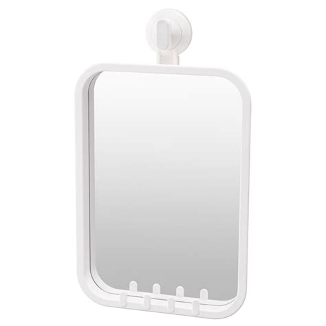 suction cup mirror bathroom stugvik mirror with hooks and suction cup white ikea